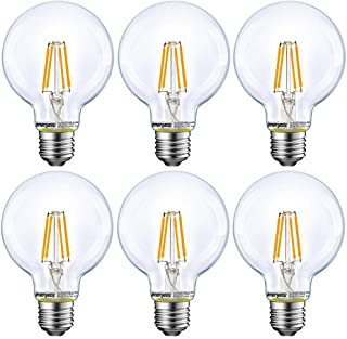 Energetic Lighting Dimmable LED Edison Light Bulb, G25 Globe Shape, Clear Glass, 60W Equivalent, 2700K Soft White, E26 Sta...