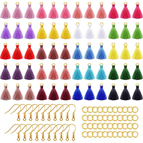 120 Pieces Multi-Color Mini Tassels DIY Silky Tassels Charms with 100 Pieces Earring Hooks and 100 Jump Rings for Earring Jewelry Making DIY Craft Accessory, 1.4 Inch