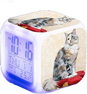 Cute Pets Cats LED 7 Color Flash Digital Alarm Clock For Kids Birthday