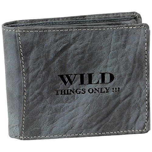 Bag Street Herren Geldbörse Portemonnaie Geldbeutel Rustikal Rindleder Leder 5453, Grau, 12,5 cm x 9,5 cm