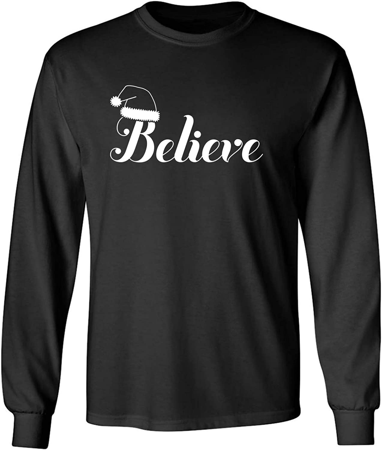 Believe Adult Long Sleeve T-Shirt in Black - XXXX-Large