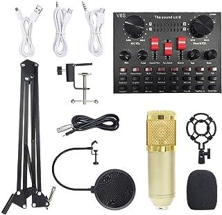 مجموعة بطاقات الصوت الحية متعددة الوظائف BM800 ميكروفون معدات تسجيل الصوت (ذهبي)