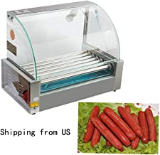 Commercial 18 Hot Dog Hotdog 7 Roller Grill Cooker Machine &Household Stainless Steel Electric Griddles with Cover,1050 Watts,Shipping from US