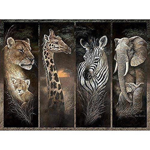 Caihoyu Puzzle da 1000 Pezzi - Pride of Africa, Animali della Giungla Africana;Leoni, Giraffe, Elefanti e zebre - Puzzle 1000 Pezzi