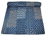 Indigo Farbe Hand Block gedruckt Kantha Steppdecke, Queen Size Patchwork Baumwolle Tagesdecke, hergestellt von silkroude