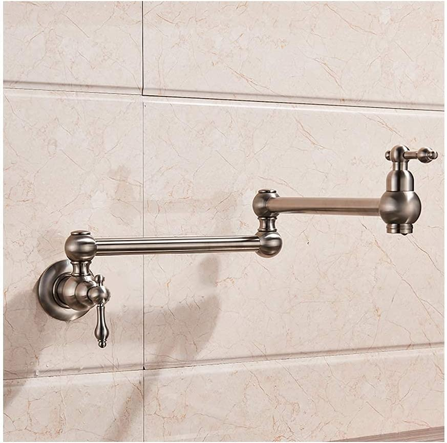 Kitchen Folding Faucet Stretchy Solid Finis Max 50% Detroit Mall OFF Brushed Brass Nickel