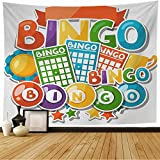 Starochi Tapestry Wall Hanging Bingo Entertainment Lottery Balls Signs Sport Frame Gambling Symbols Money Sports Recreation Label Tapestry Decor Living Room Bedroom for Home 80x60 Inch