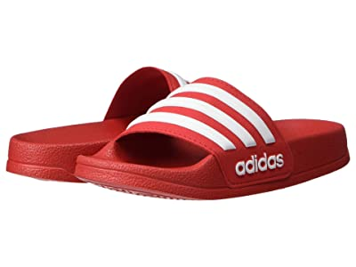 adidas Kids Adilette Shower Slide (Toddler/Little Kid/Big Kid) (Scarlet/White) Kids Shoes