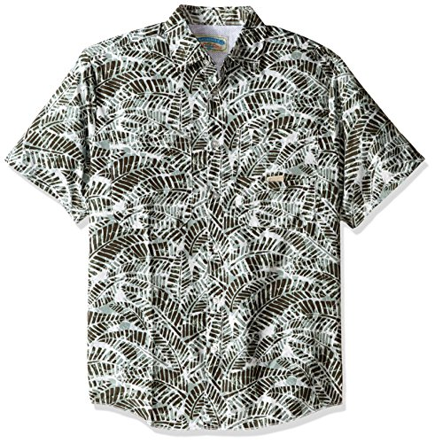 Margaritaville Men's Relaxed-Fit Short Sleeve Fishing Shirt, Ivy Green, Medium