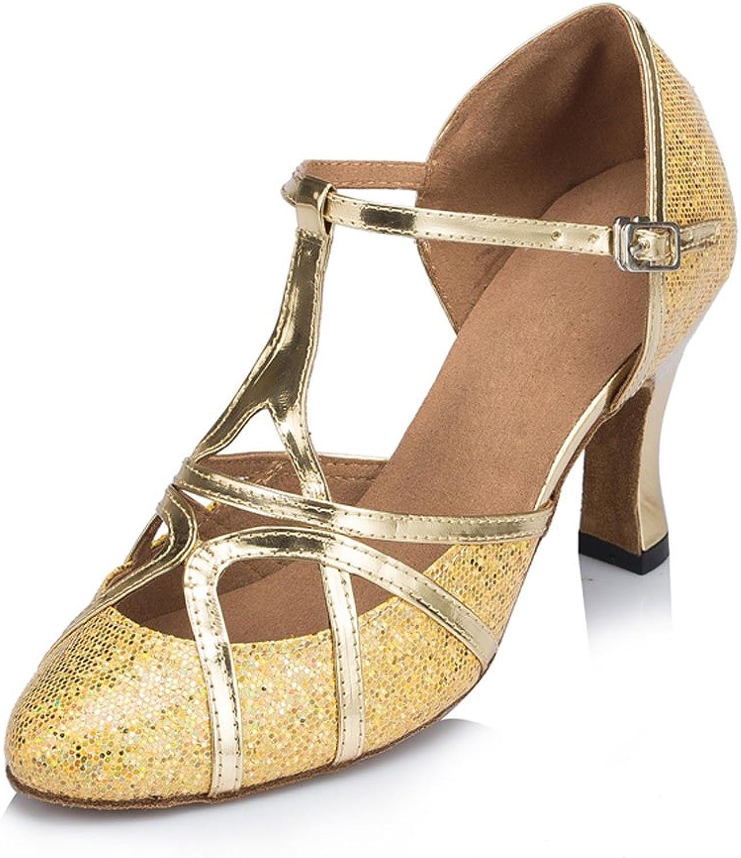 Yiteli Women's Closed Toe Ballroom Dance shoes US5.5-9 gold