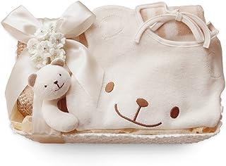 出産祝い 3点セット 新生児 ベビーギフトセット くまのスタイとガラガラ+ミニブランケット オーガニックコットン