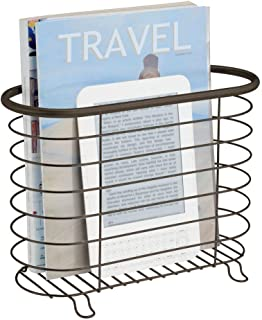 Best mDesign Decorative Metal Farmhouse Magazine Holder and Organizer Bin - Standing Rack for Magazines, Books, Newspapers, Tablets in Bathroom, Family Room, Office, Den - Bronze Review