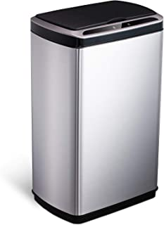 SANIWISE Sensor Trash Can 13 Gallon Automatic Bin for Kitchen and Office, Black Cover and Silver Stainless Steel Sensor Ga...