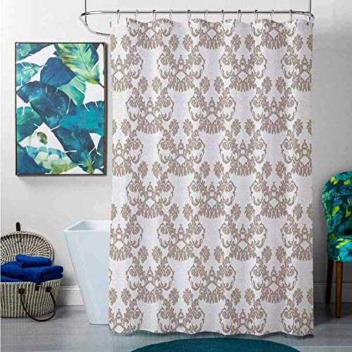 Shower Curtains For Bathroom Orange Taupe,Rococo Style Flourishing Flowers Imperial Pattern Old Fashioned Classy Tile Delicate, Taupe White,W48 X L72 Cotton Christmas Shower Curtain 72x72 Inch