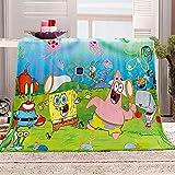 Flanelldecke Kuscheldecke Spongebob Sherpa Decke 3D Gedruckt Warm Flauschige Decke TV-Decke Sofadecke Wohndecke Tagesdecke Kinderdecken 130x150cm