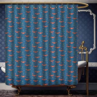 Jiahong Pan Under The Sea,Waterproof Thick Shower Curtains Sea Crabs Stars and Anchors in Cartoon Style Fun Kids Nursery Shower Hooks are Included Blue Orange Pale Brown W72 xL78