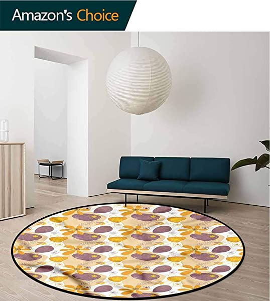 RUGSMAT Doodle Modern Flannel Microfiber Round Area Rug Warm Colored Nature Carpet Door Pad For Bedroom Living Room Balcony Kitchen Mat Round 31