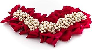 إكسسوارات شعر للنساء من Aakarshana طراز هندي بوليوود لحفلات الزفاف وحفلات الاحتفالية وزهور شعر متوسطة حمراء