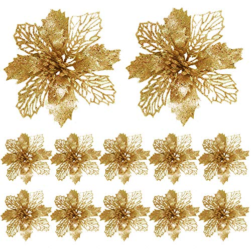 FUNNY HOUSE Christbaumschmuck Glitter Poinsettia 12 Stücke Weihnachtsschmuck Baumschmuck Künstliche Weihnachtsblumen Deko für Weihnachtsbaum Weihnachtskranz Ornamente (Golden)