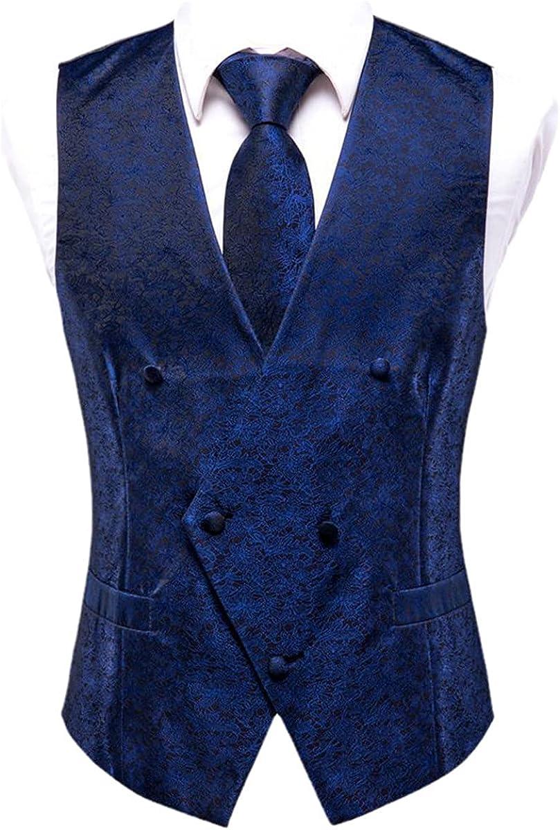 Silk Men's Tank Top Formal Fitted Vest 4-piece Set Tie Handkerchief Cufflinks Suit Blue Paisley Floral Vest