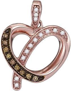 Ciondolo a forma di cuore in oro rosa 10 ct con diamante marrone rotondo da 1/8 Cttw per le donne