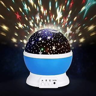 スタープロジェクター ナイトライト 星空ライト 多色変更 プラネタリウム 投影 360度回転 USB 電池 (ブルー)