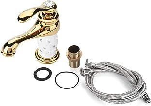 Lyxigt guld silver diamant handfat blandare kran varmt kallt vatten hemlagad badrum socialme-EU guld