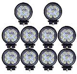Leetop 10X 27W LED Luces de Trabajo 12V-24V Focos de LED 6500K Luces de Conducción Luz de Niebla Off Road Conducción de Luz LED IP67 a Traves de SUV UTV ATV Faros