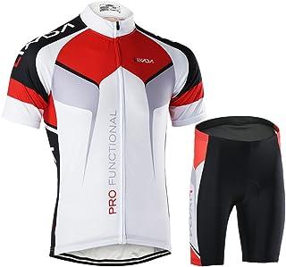 الرجال تنفس سريعة الجفاف مريحة قصيرة الأكمام جيرسي + سراويل قصيرة مبطنة ركوب الدراجات ملابس رياضية