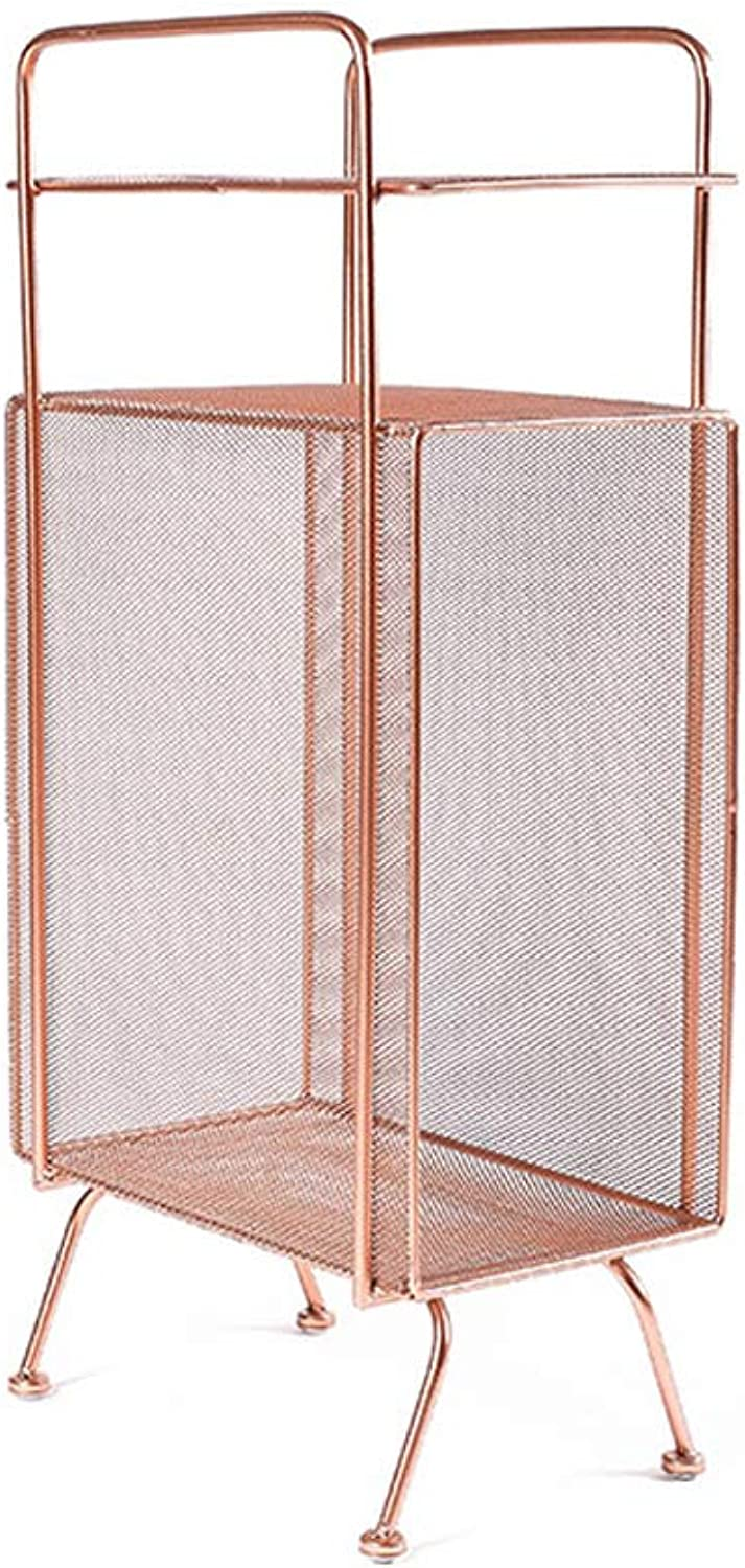 Bookcases Large Capacity greenical Metal Bookshelves, Household Toys, Clothing Tools, Storage Shelves, Office Magazine Shelves, Bookshelves (color   pink gold)