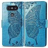 Bravoday Handyhülle für LG V20 Mini Hülle, Stoßfest PU Leder Tasche Flip Hülle Schutzhülle für LG V20 Mini, mit Kartenfäch und Kickstand, Blau