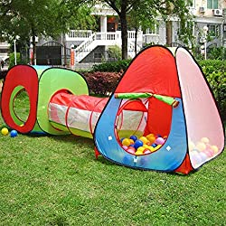 "Pop Up Kids Play Tent: 102""(L) X 31""(W) X 31""(H) (unfold size) for ages 3 Years and up. This adventure playhouse tent set includes one square tent house-one triangle tent house and a tunnel, each component can be used together or separately. 3 Piece ..."