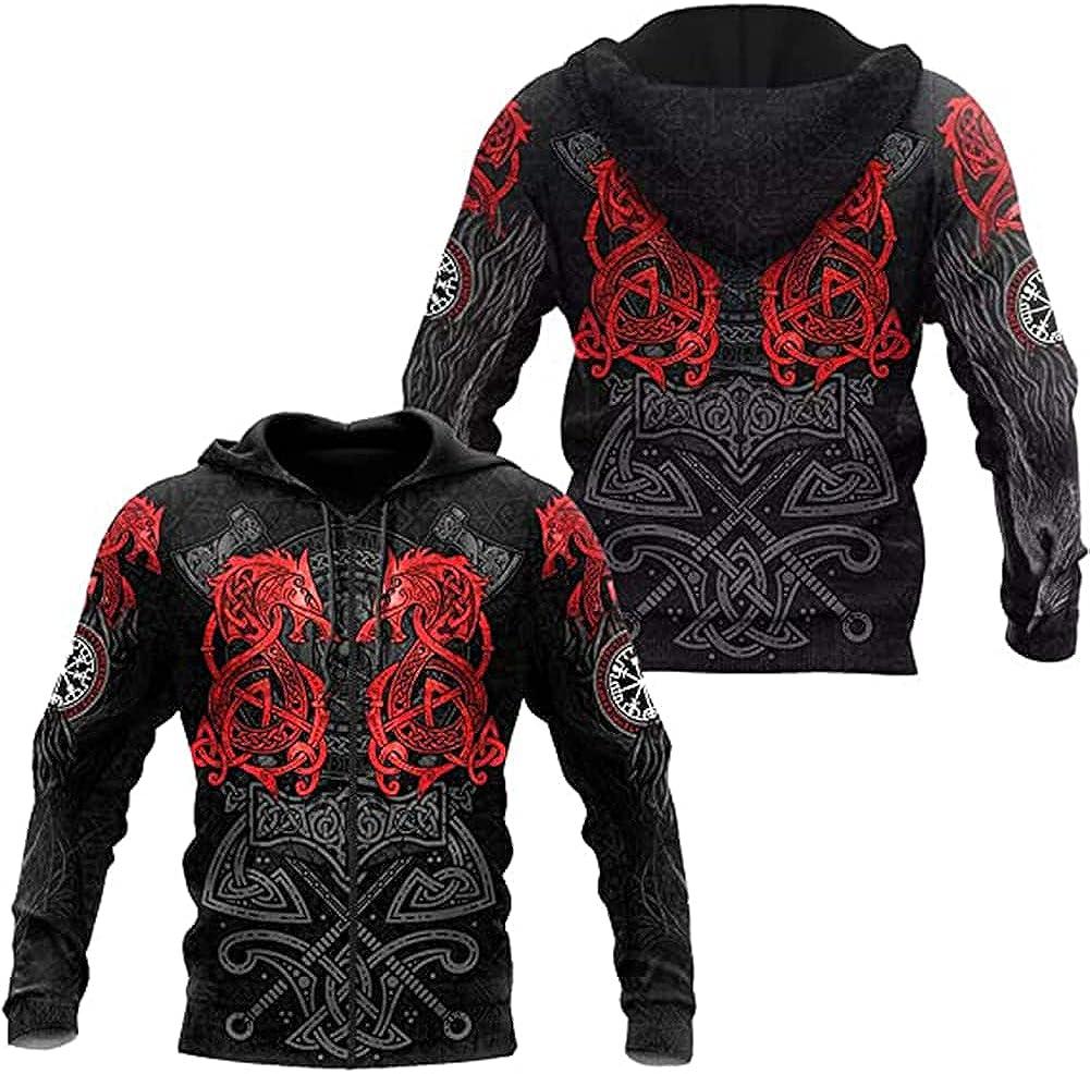 Viking Fenrir Wolf Tattoo Hoodie 3D Printing Norse Mythology Thor's Sweatshirt Autumn Casual Jacket with Kangaroo Pocket