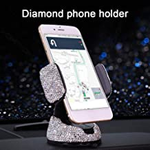 grfamily Bling Rhinestone Phone Holder, Universal Car Windshield Dashboard Air Outlet Phone Mount Suction Cup Adjustable Cell Phone Bracket Cradle for Easy View GPS Screen, Compatible with masterwork