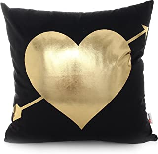 Monkeysell Bronzing Flannelette Home Pillow Cases Throw Pillow Covers Decorative Cushion Love Black Heart Pattern Design for Square Sofa Home 18 x 18