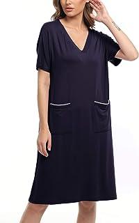 Women Short Sleeve Nightgowns V Neck Sleepwear Night...