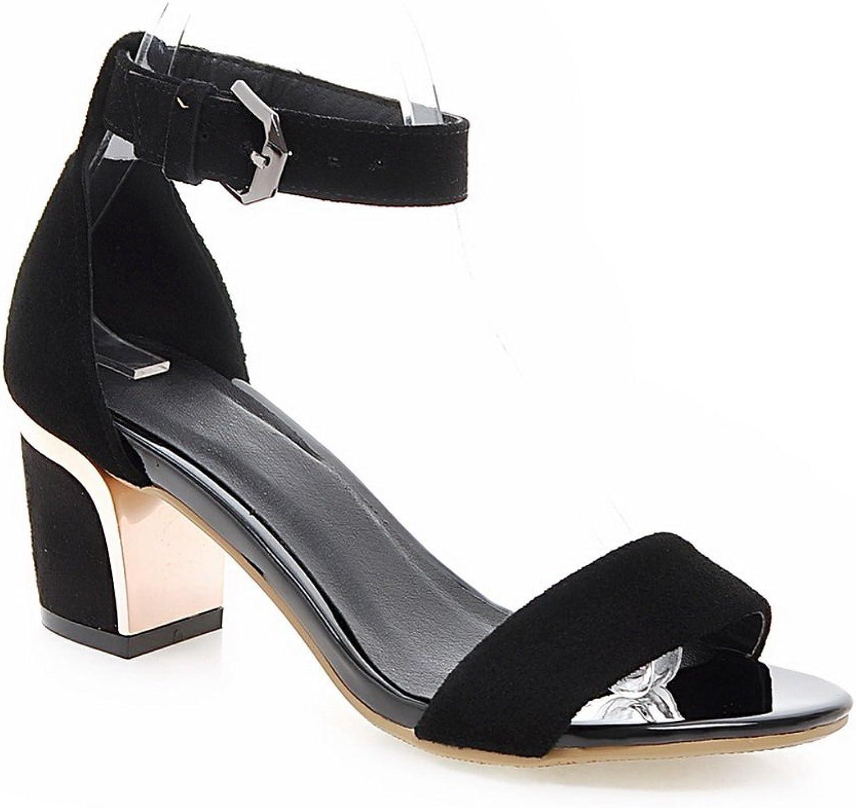 AdeeSu Womens Metal Buckles Chunky Heels Solid Wool Heeled Sandals SLC03681