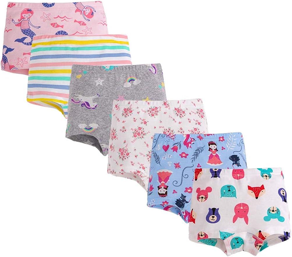 Bossail Kids Soft Cotton Toddler Underwear 6-Pack Little Girls' Assorted Boyshort Panties