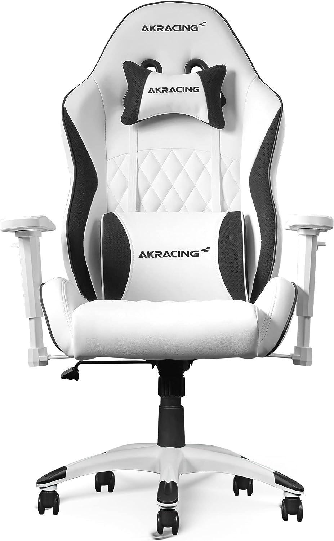 Akracing Chair California Laguna - Silla Para Videojuegos, Piel Sintética, Color Blanco, Talla Única