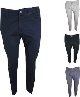 9009ff41a5669c Guy Pantaloni Uomo Slim Modello Jeans Elasticizzati Vita Bassa in Cotone  Estivi Nero Blu Grigio Beige