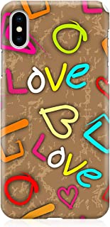 Loud Universe Case for iPhone XS Wrap around Edges Valentines Day Couples Neon Love Heart Pattern Sleek Design Heavy Duty ...