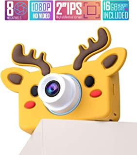 lilexo Kids Digital Camera, Gifts for Boys and Girls Age 3-8 Year Old, 8MP HD Children Shockproof Mini Video Camcorder, Toy Camera & Animal Silicone Cover, 16GB Memory Card Included (Brown Reindeer)