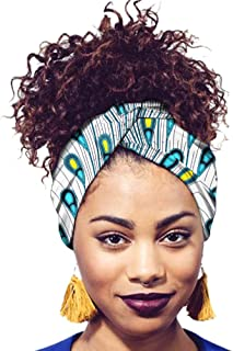 Ababalaya Women's Extra Long African Traditional Print Head Wrap Headband Tie 78×2 inch