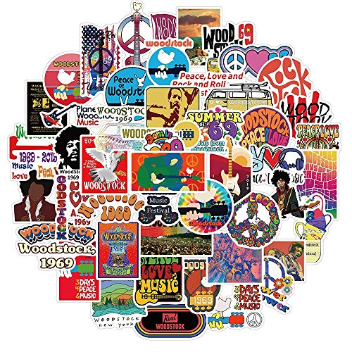 Paquete de pegatinas de Woodstock Rock Festival para el amor y la paz a la guitarra, motocicleta, monopatín, coche, portátil, pegatina de graffiti, 50 piezas