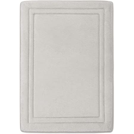 MICRODRY Quick Drying Memory Foam Framed Bath Mat with GripTex Skid-Resistant Base Linen 21x34
