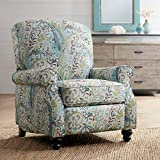 Ethel Skye Blue Paisley Push Back Recliner Chair - Elm Lane