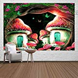 Ine Ive Psychedelic Forest Mushroom House Tapestry Starry night cartoon butterfly tapestry Flannel Comfort Material 6040 Inch Home Decoration Living Room Bedroom Decorative Background Cloth GTZFIE1252