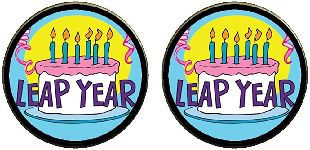 GiftJewelryShop Bronze Retro Style Leap Year Birthday Cake Photo Clip On Earrings 14mm Diameter