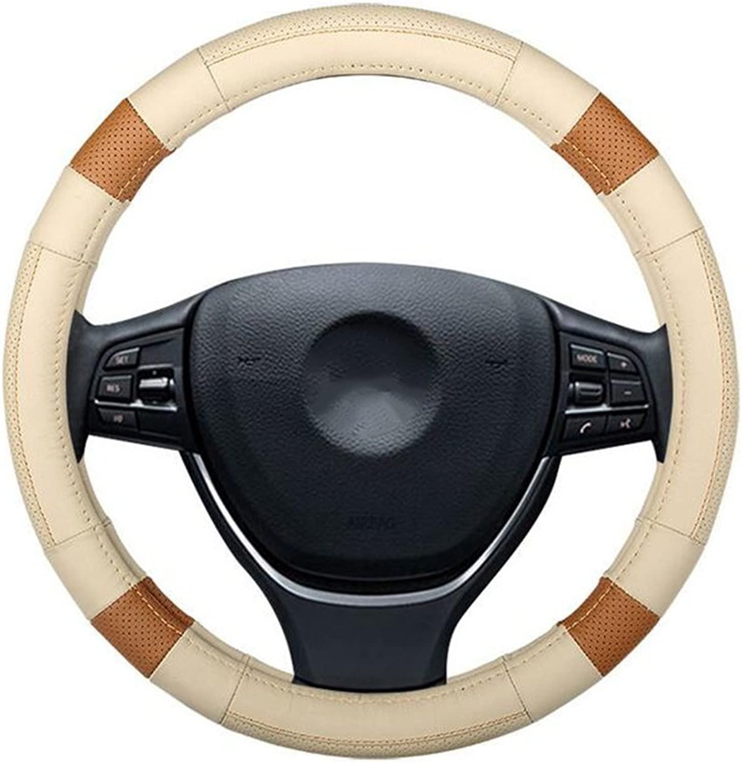Auto Accessories Car Steering Wheel Cover Breathable NonSlip Leather Enhancing Driving Quality 38cm Universal Handle Cover, Beige, 40CM