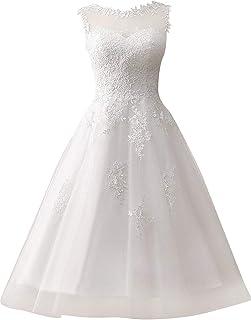 Abito da sposa da donna, abito da sposa, abito da festa, tulle, linea A, lunghezza al polpaccio